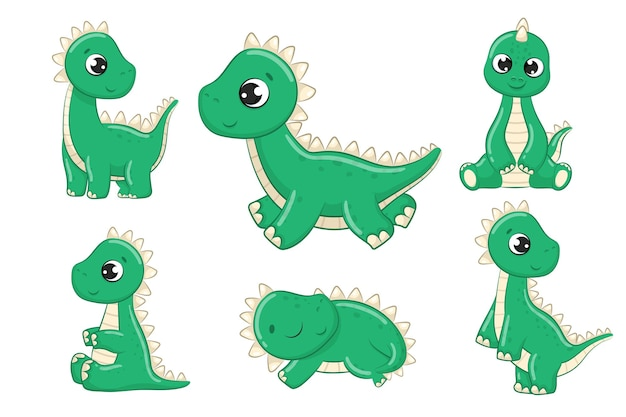 Carino set baby dinosauri illustrazione. illustrazione vettoriale per baby shower, biglietto di auguri, invito a una festa, stampa di t-shirt di vestiti di moda.