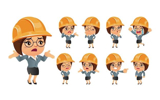 Simpatico set di ingegneri con emozioni diverse