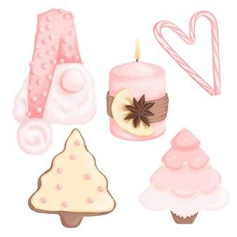 Simpatico set di biscotti con candele di decorazioni di capodanno