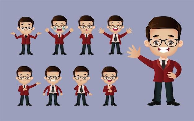Set carino - set di uomini d'affari con emozioni diverse