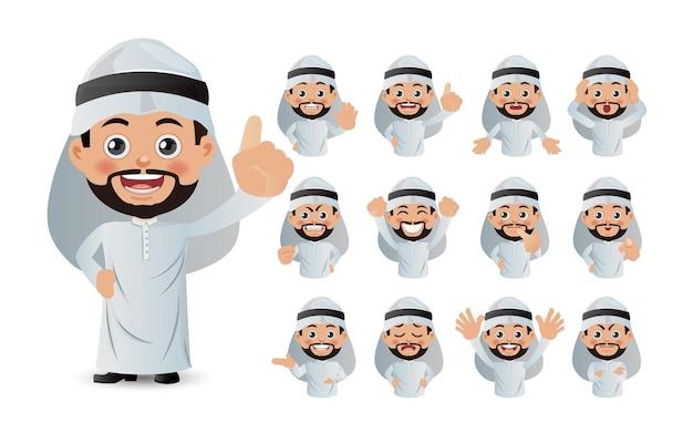 Set carino set di uomini d'affari con emozioni diverse