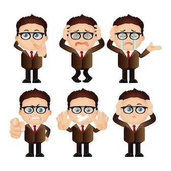 Insieme carino. set di caratteri dell'uomo d'affari.