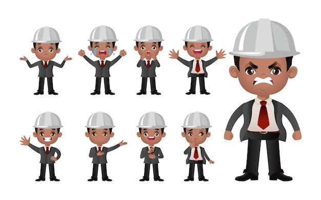 Set carino set di ingegneri con diverse emozioni