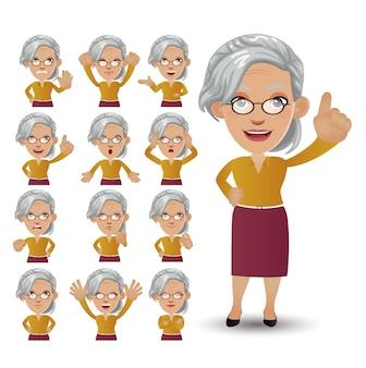 Set carino - set di persone anziane con emozioni diverse