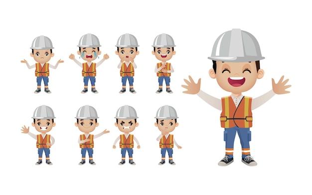 Set carino set di lavoratori con diverse emozioni