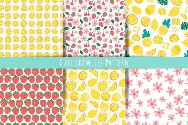 Simpatico set di modelli senza cuciture estivi. bacche estive, frutta, sfondi di fiori