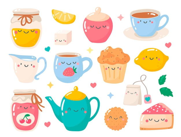 Simpatico set di tè e dolci icone kawaii bollitore biscotti tè torta marmellata muffin