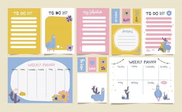 Simpatico set di pianificatore settimanale per fare la lista e il programma con alpaca e lama. stile infantile scandinavo.