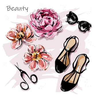 Set carino con scarpe femminili