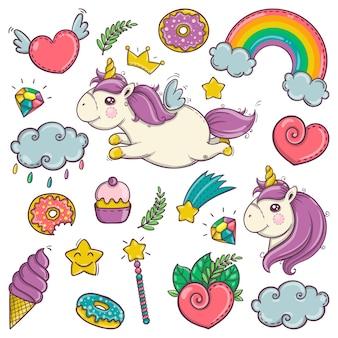 Simpatico set di meravigliosi elementi magici con unicorni, caramelle e tesori. merci delle fate in stile piatto.