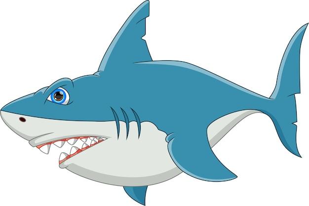 Simpatico cartone animato di squalo isolato su sfondo bianco