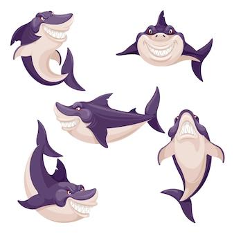 Squalo carino. pesce pericoloso, predatore di creature oceaniche. mascotte sorridente degli squali di nuoto.