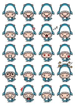 Simpatici set di mascotte di squalo