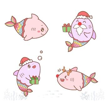 Simpatico cartone animato sirena squalo disegnato a mano con colori pastello per natale