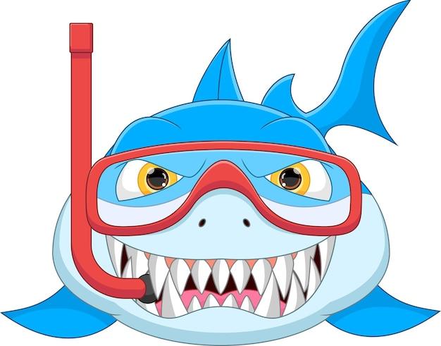Simpatico squalo che indossa attrezzatura per lo snorkeling