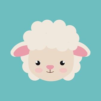 Disegno dell'icona isolato carino fattoria degli animali delle pecore