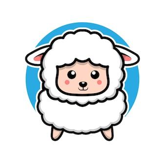 Illustrazione di concetto animale personaggio dei cartoni animati carino pecora
