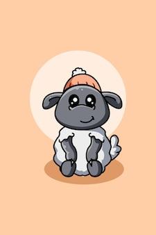 Illustrazione di cartone animato carino pecora
