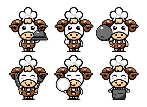 Simpatico personaggio di chef di pecore design impostato con attrezzatura da cucina