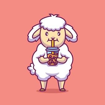 Pecore sveglie bere bolla di tè fumetto illustrazione