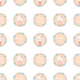 Cute pecore su fiori ghirlanda modello per carta da parati di compleanno