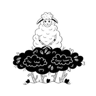Il grazioso giardino delle pecore taglia un cespuglio. grafica vettoriale in bianco e nero