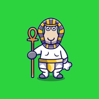Simpatico faraone di pecore che porta un bastone