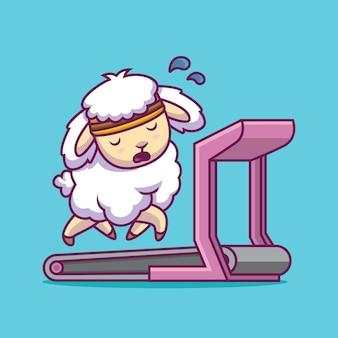 Pecore sveglie che corrono sull'illustrazione del fumetto del tapis roulant