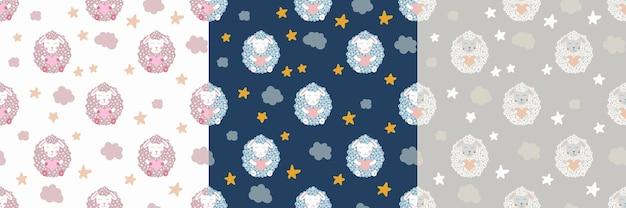 Pecore carine. stella e nuvola. impostare il modello senza cuciture della scuola materna. illustrazione dei bambini di vettore. per tessuti per bambini, decorazioni per la casa, abbigliamento.