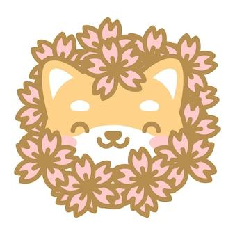 Simpatica testa di cane shiba con un mucchio di fiori di ciliegio sulla testa