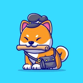 Illustrazione sveglia del fumetto del giornale del corriere del cane di shiba inu. concetto di professione animale isolato. stile cartone animato piatto