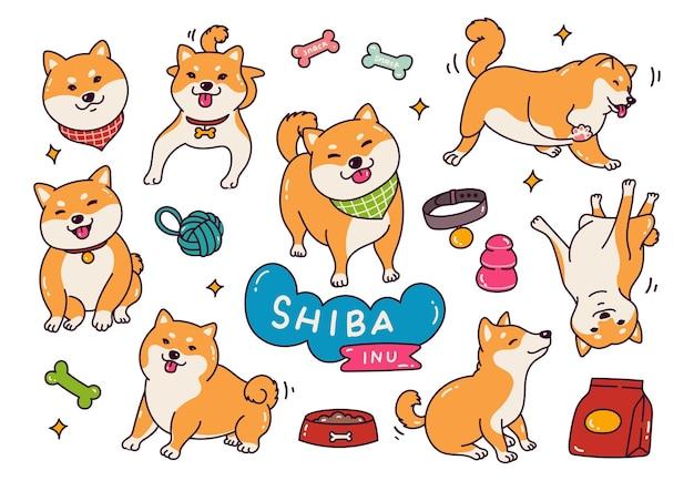 Cane sveglio di shiba inu nell'illustrazione di stile di doodle