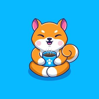 Simpatico cartone animato shiba inu dog che beve caffè