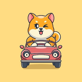 Simpatico cane shiba inu alla guida dell'auto cartone animato