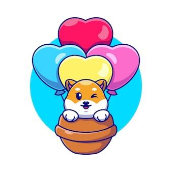 Cane sveglio di shiba inu che vola con il fumetto del pallone di amore