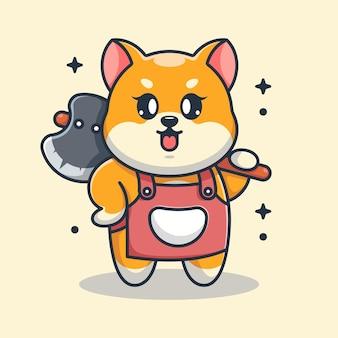 Simpatico cartone animato di ascia della holding del cane di shiba inu