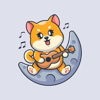 Simpatico cane shiba inu che suona la chitarra sulla luna