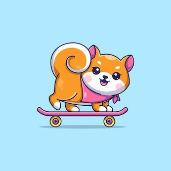 Simpatico cane shiba inu che gioca a cartone animato con lo skateboard