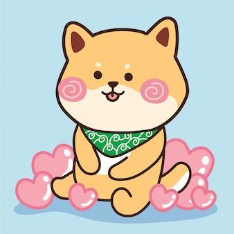 Il cane sveglio di shiba inu si siede con il cuore sull'azzurro