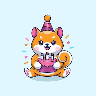Simpatico cane shiba inu con torta cartone animato di buon compleanno