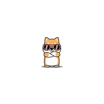 Cane sveglio di shiba inu con gli occhiali da sole che attraversano il fumetto delle braccia