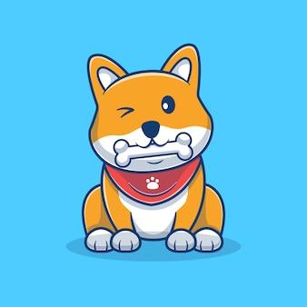 Carino shiba inu mangiare osso fumetto illustrazione. logo mascotte cane carino. concetto di cartone animato animale. stile cartone animato piatto adatto per animali, negozio di animali, logo dell'animale domestico, prodotto.