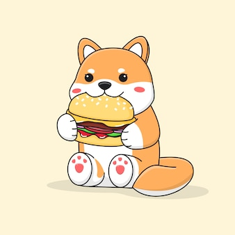 Shiba inu carino mangiare hamburger