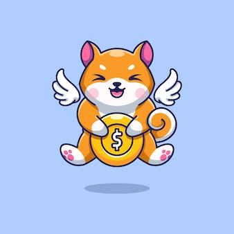 Simpatico shiba inu che vola con cartone animato moneta d'oro