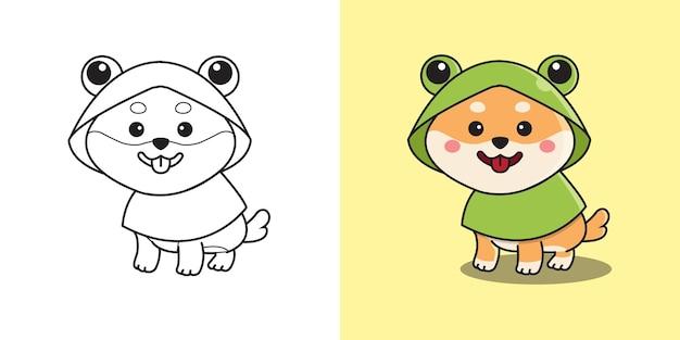 Carino shiba inu indossando un impermeabile costume da rana. pagina da colorare di bambini. design in stile cartone animato piatto.