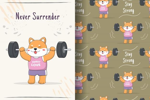 Carino shiba inu weightlifter seamless pattern e carta
