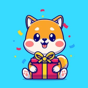 Simpatico shiba inu con scatola regalo icona del fumetto vettoriale. concetto di icona natura animale isolato vettore premium. stile cartone animato piatto