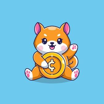 Simpatico cartone animato shiba inu con moneta d'oro