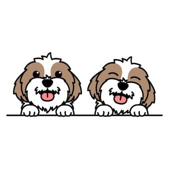 Simpatico cartone animato cane shih tzu, illustrazione vettoriale