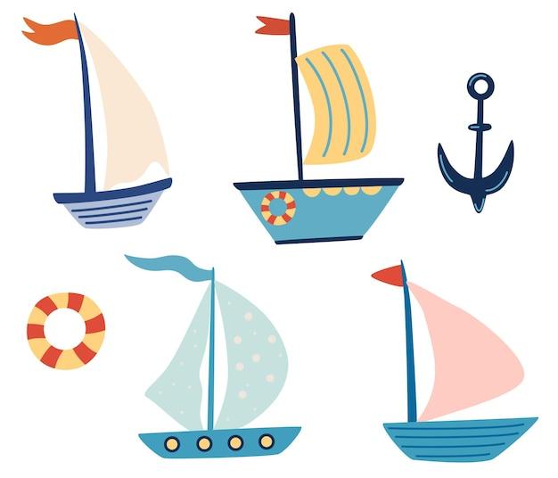 Set di barche a vela con barche carine set di disegni per barche piccole navi in un grazioso design piatto trasporto marittimo